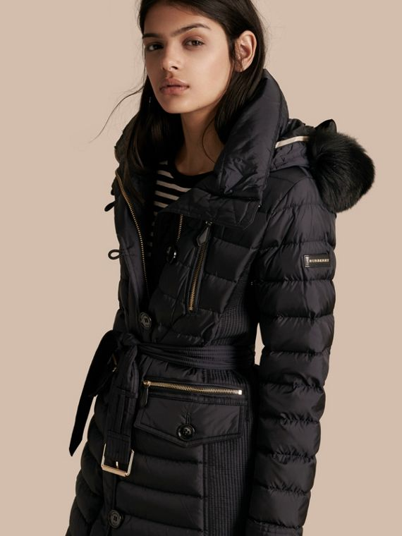 Down-filled Parka with Detachable Fox Fur Trim Navy