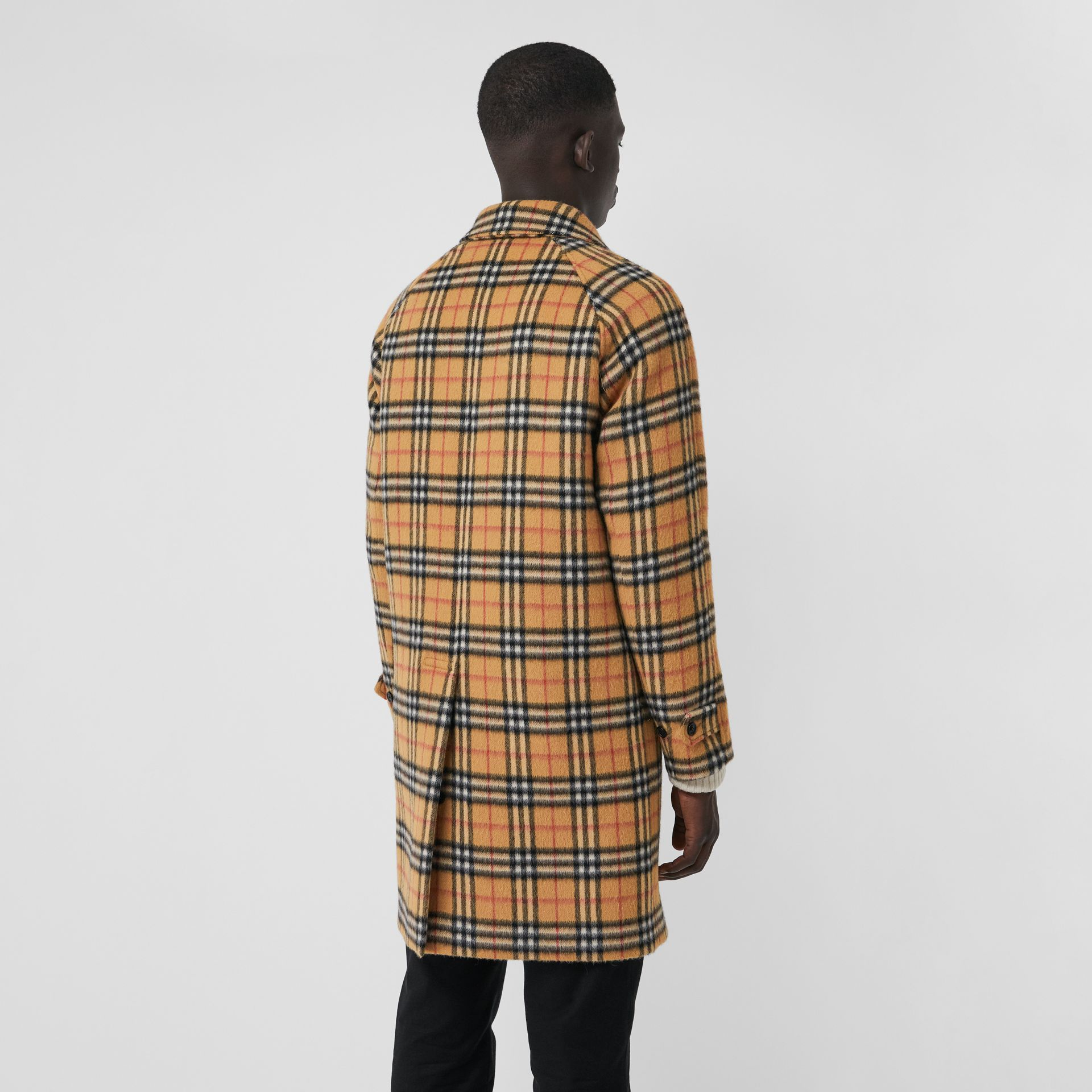 Vintage Check Alpaca Wool Car Coat in Antique Yellow - Men | Burberry - gallery image 2