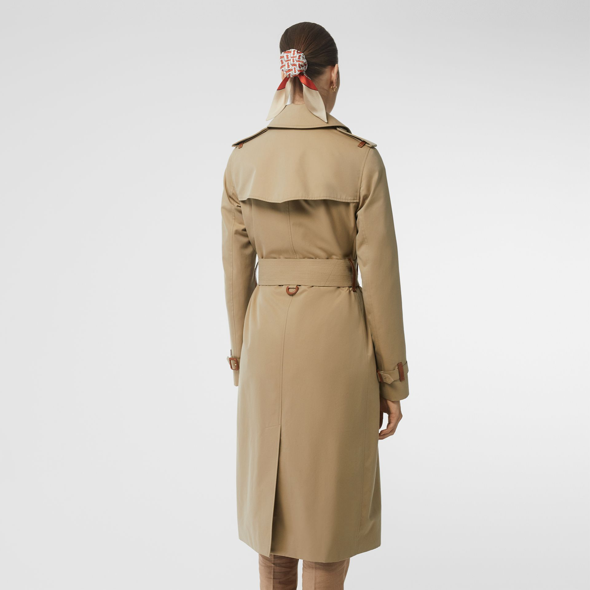 Leather Detail Cotton Gabardine Trench Coat in Honey - Women | Burberry Australia - gallery image 2