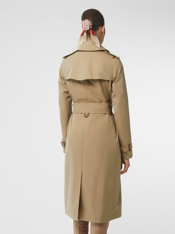 Leather Detail Cotton Gabardine Trench Coat in Honey - Women | Burberry Australia - cell image 2