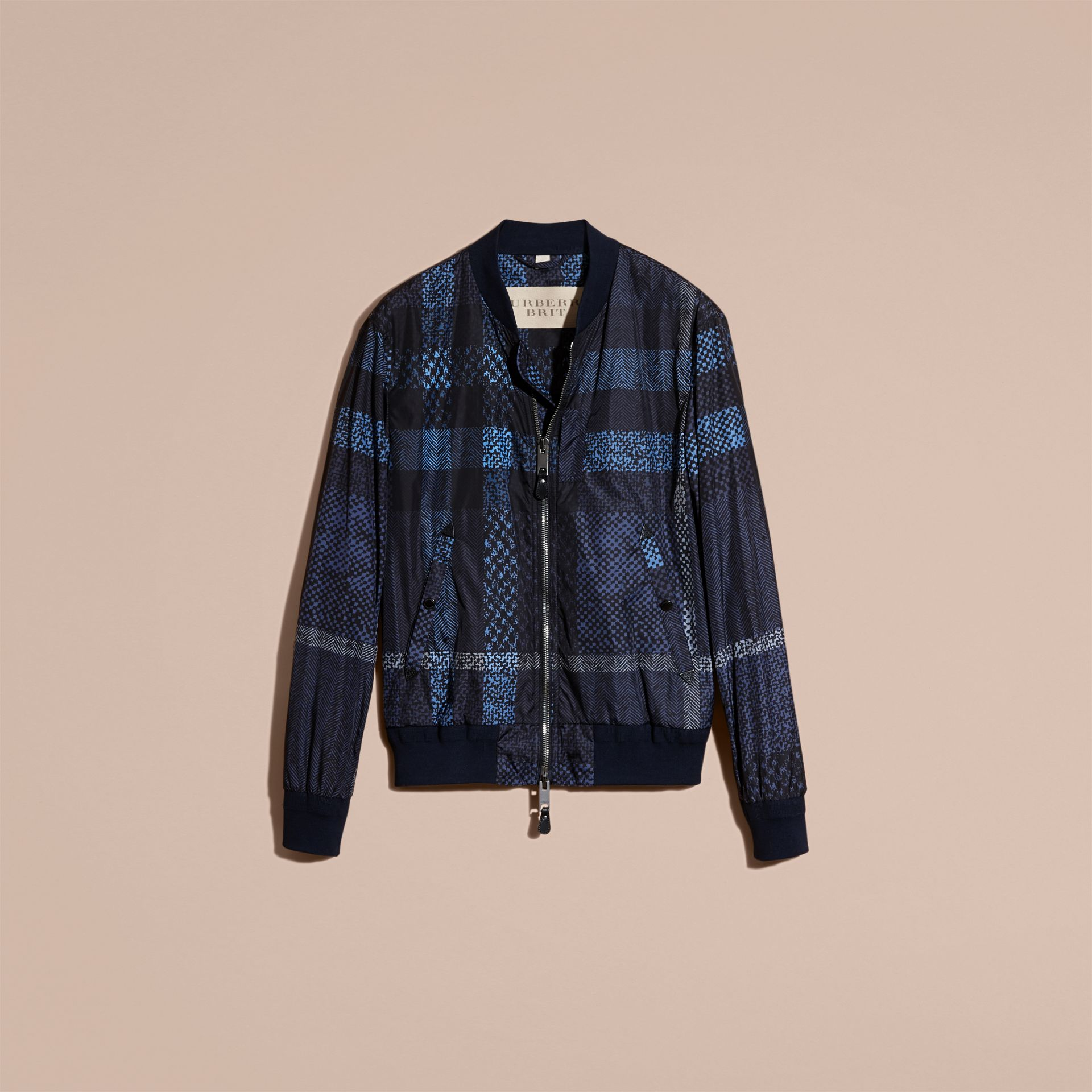 Steel blue Lightweight Check Bomber Jacket - gallery image 4