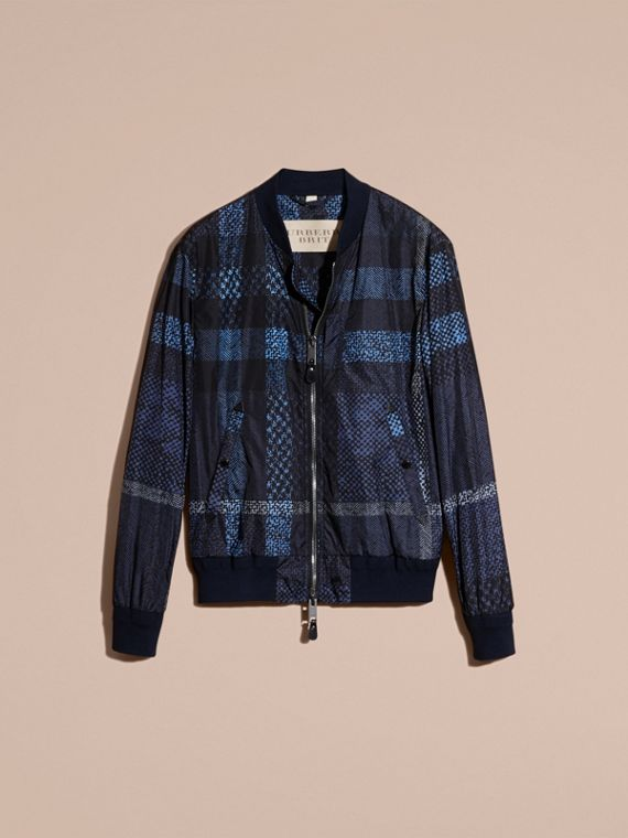 Steel blue Lightweight Check Bomber Jacket - cell image 3