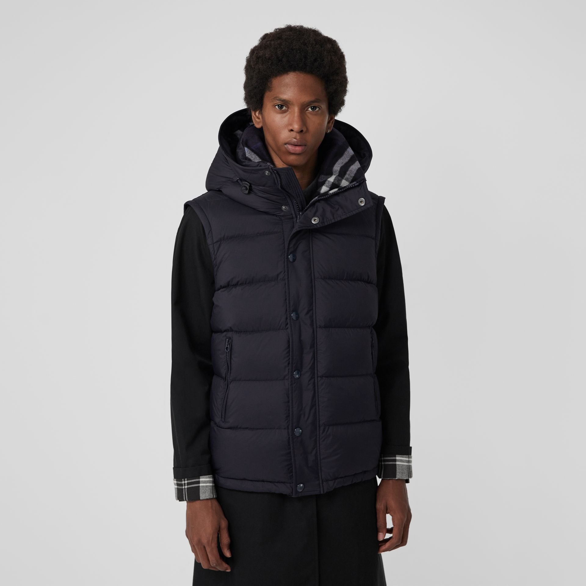 Detachable-sleeve Down-filled Hooded Puffer Jacket in Navy - Men | Burberry - gallery image 6