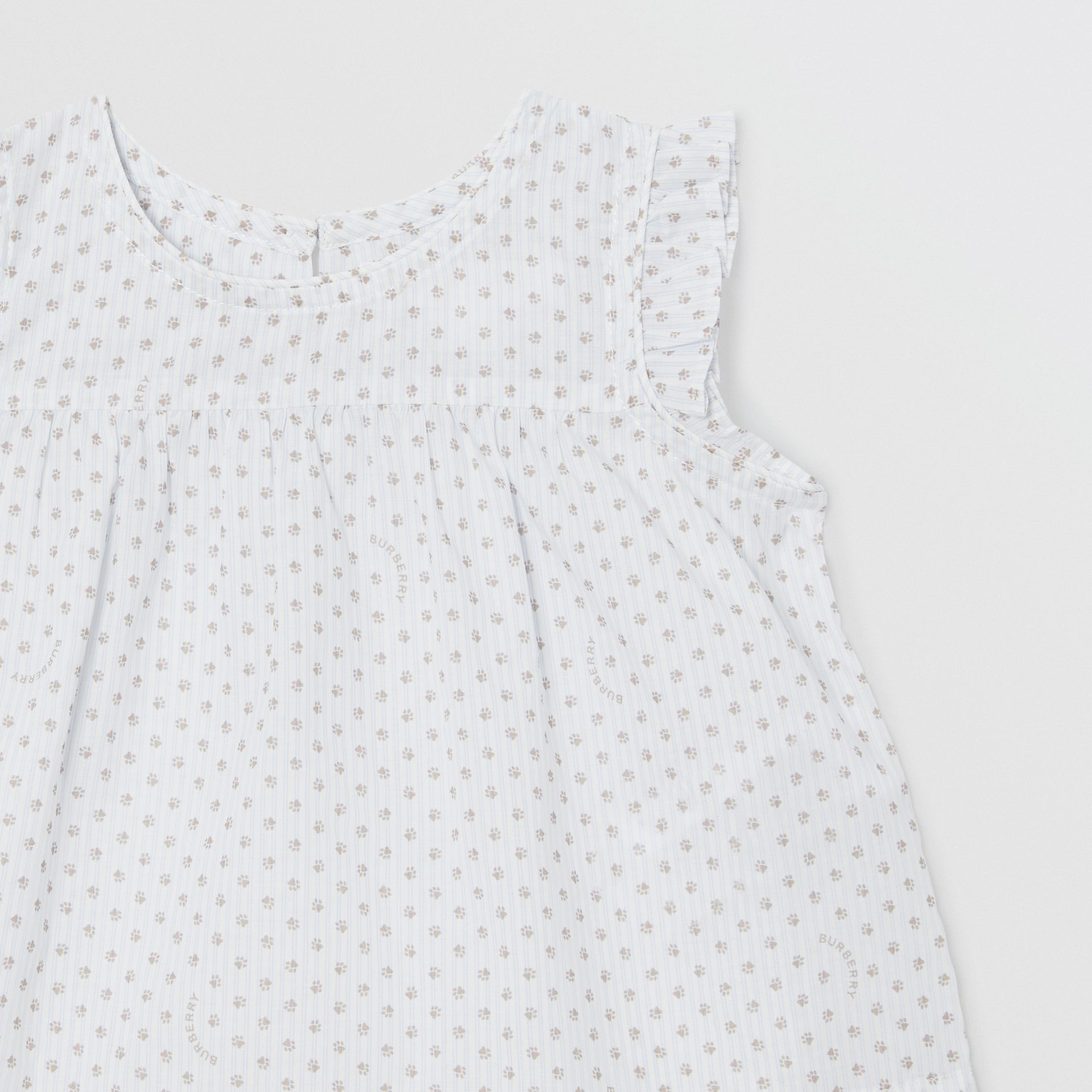 Polka Dot Cotton Three-piece Baby Gift Set in Natural White - Children | Burberry - gallery image 9