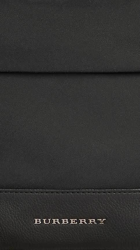 Black Leather Detail Nylon Backpack - Image 5
