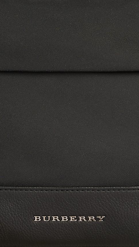 Black Leather Detail Nylon Backpack - Image 5
