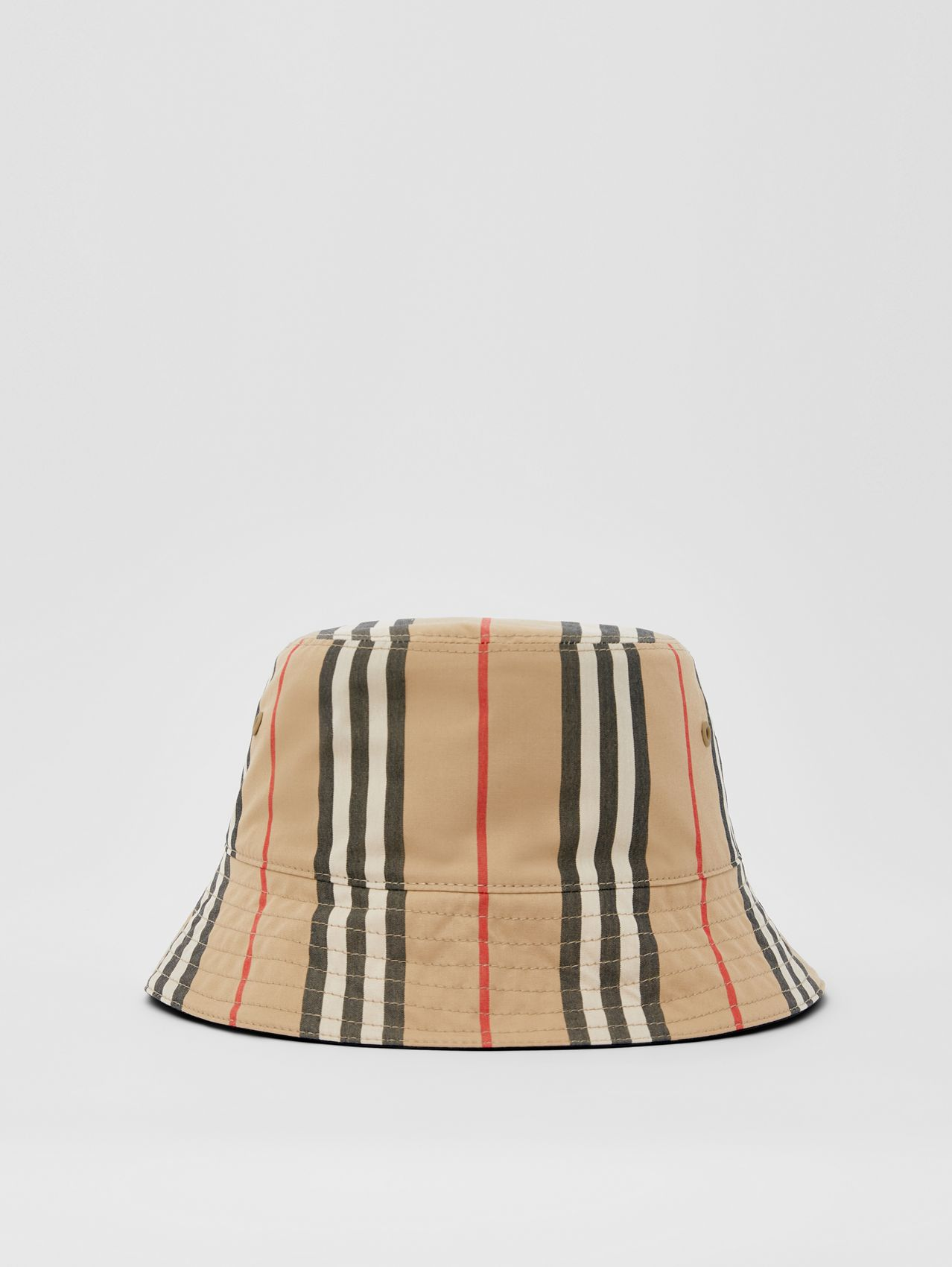 Reversible Icon Stripe Cotton Bucket Hat in Archive Beige