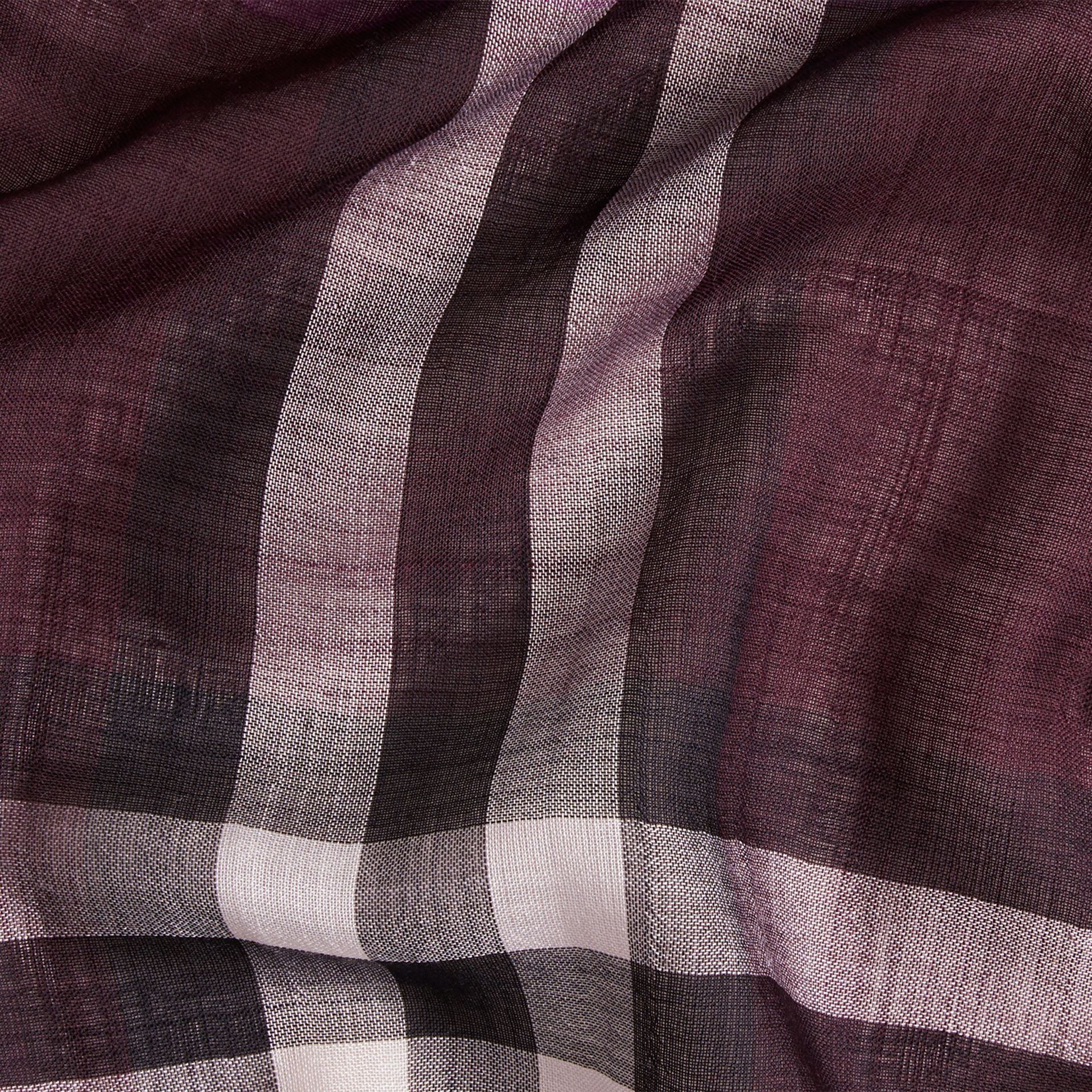 Aubergine check Lightweight Check Wool and Silk Scarf Aubergine - gallery image 2