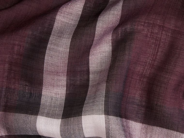 Aubergine check Lightweight Check Wool and Silk Scarf Aubergine - cell image 1