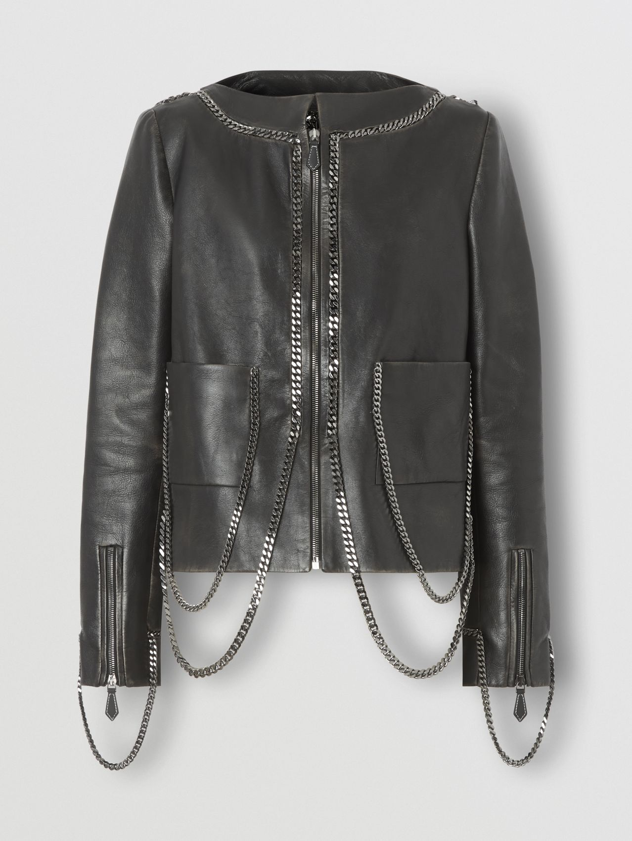 Chain Detail Leather Jacket in Black