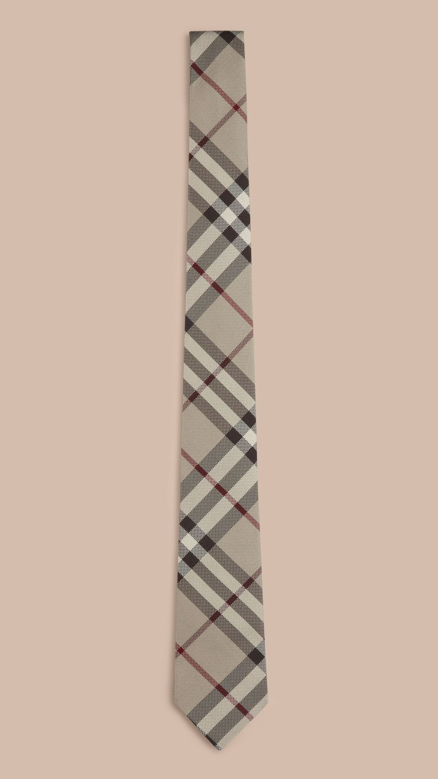 Smoked trench Modern Cut Check Silk Tie - Image 1