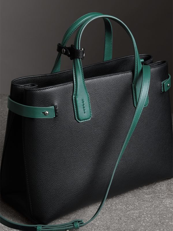 The Medium Banner in Two-tone Leather in Black/sea Green - Women | Burberry - cell image 2
