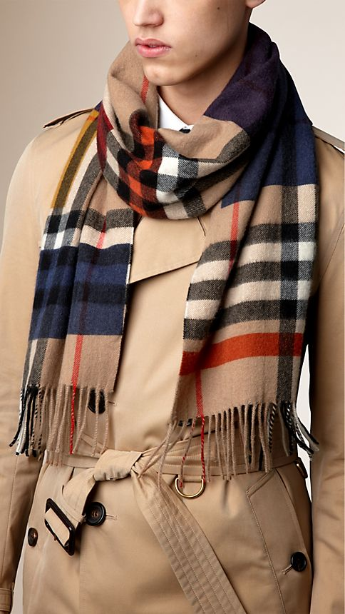 Dark camel check Colour Block Check Cashmere Scarf - Image 3