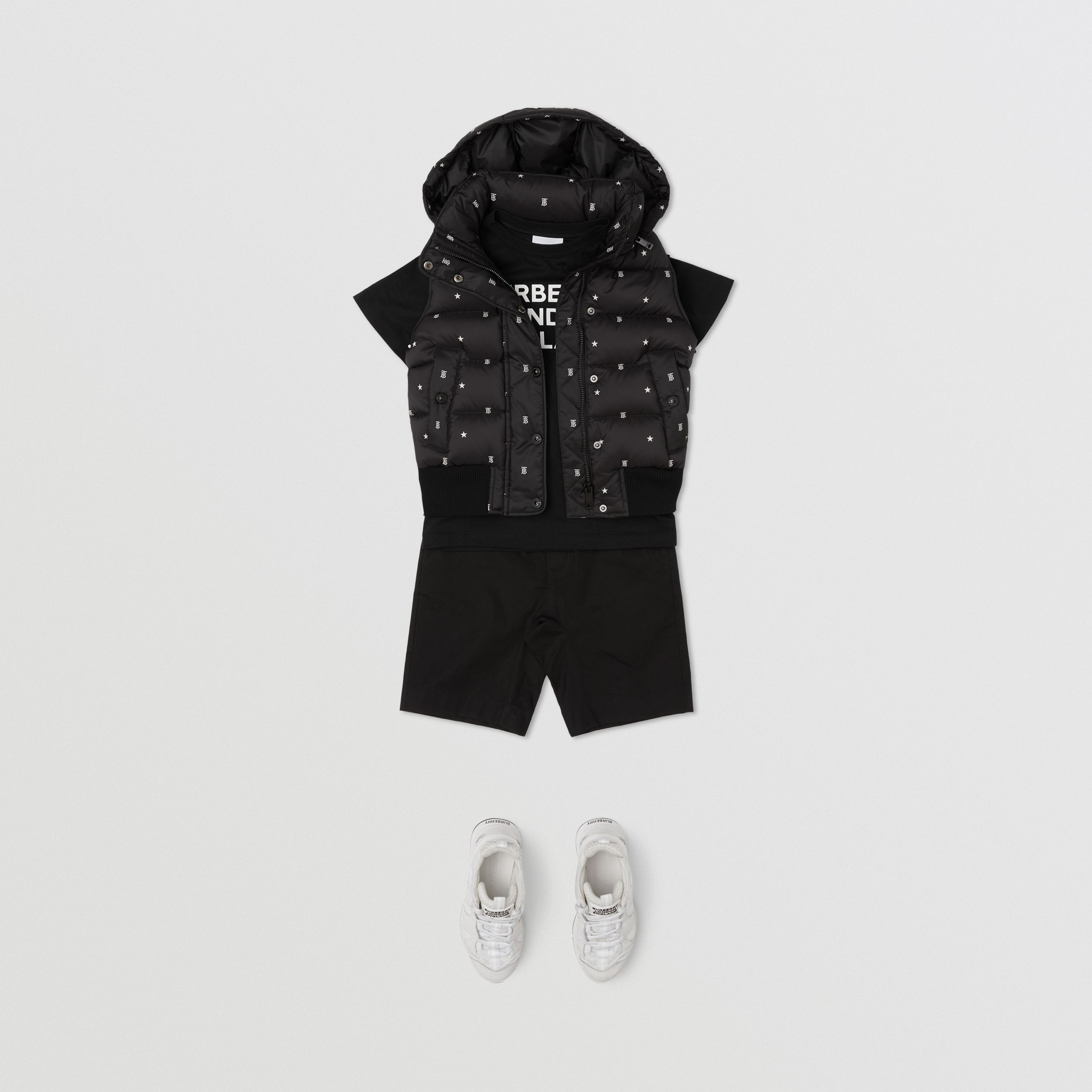Star and Monogram Motif Puffer Gilet in Black | Burberry - 4