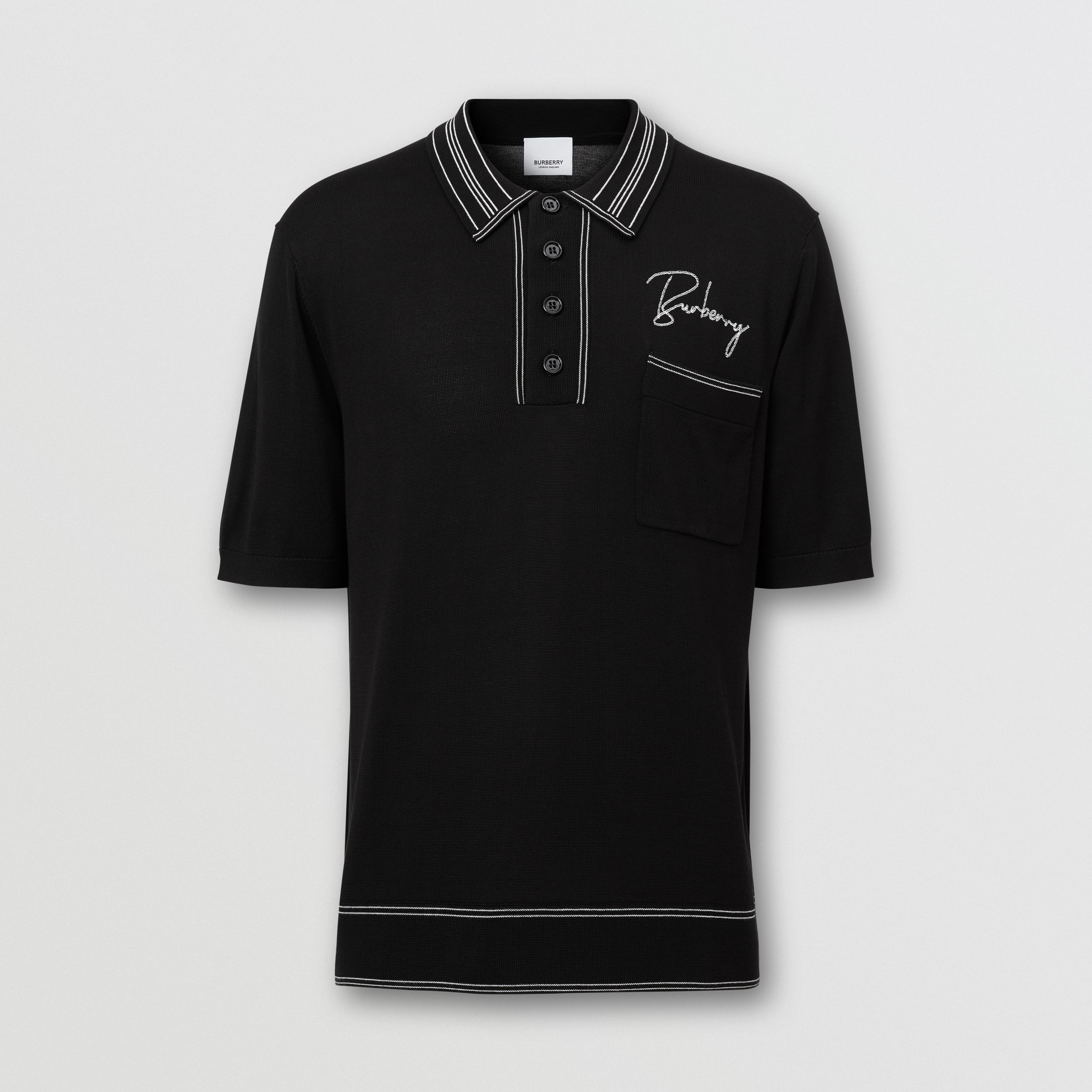 Embroidered Logo Knit Silk Polo Shirt - Men | Burberry Australia - 4