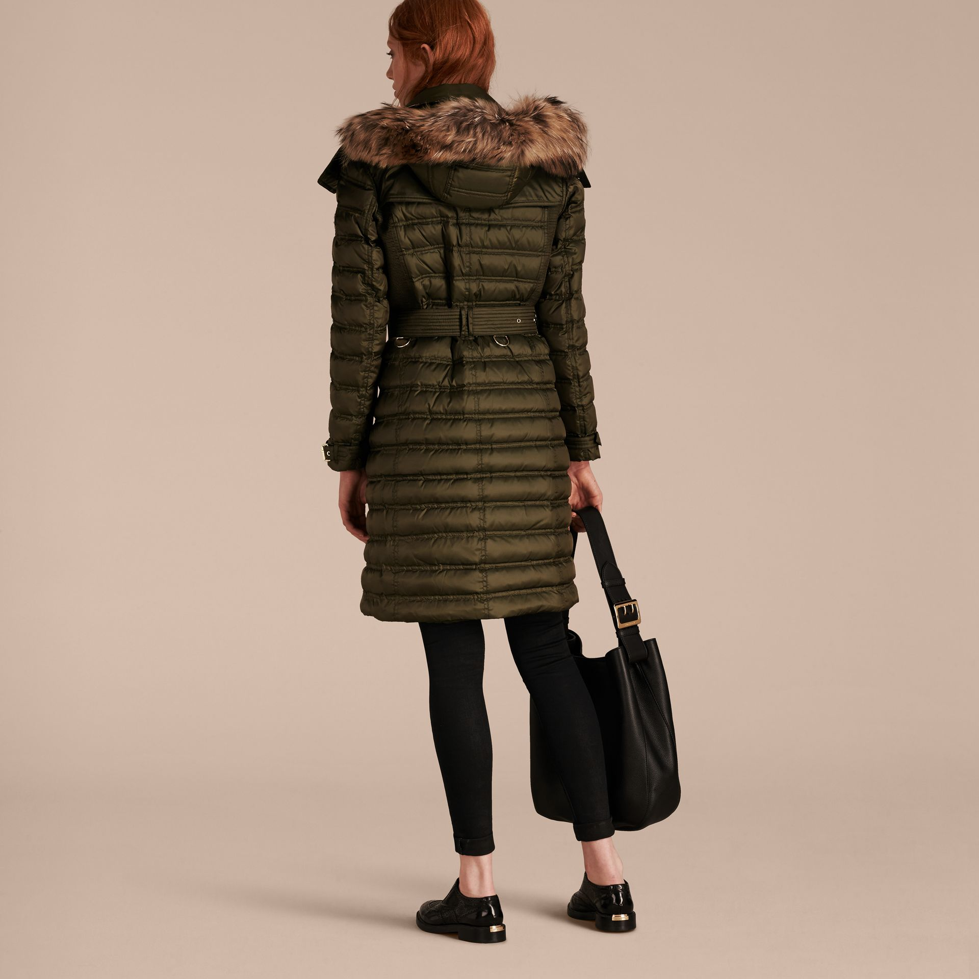 Dark olive Down-Filled Puffer Coat with Fur Trim Dark Olive - gallery image 3