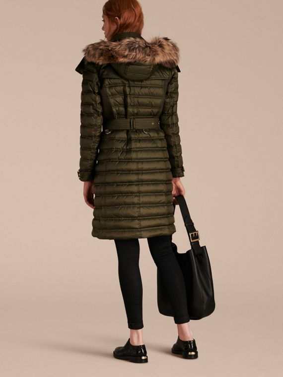 Dark olive Down-Filled Puffer Coat with Fur Trim Dark Olive - cell image 2