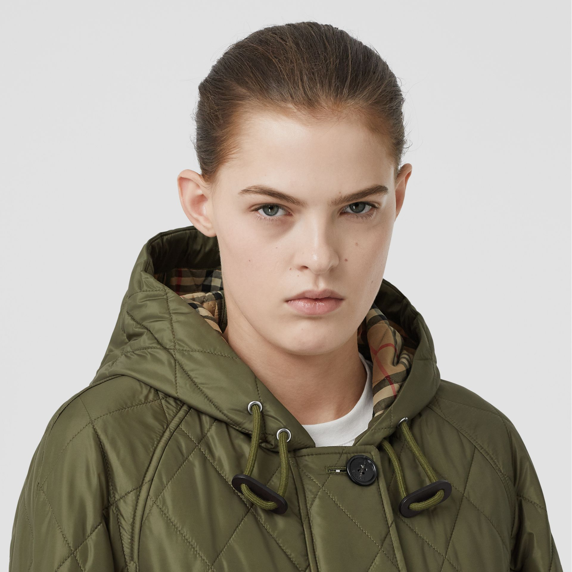 Diamond Quilted Hooded Coat in Cadet Green - Women | Burberry Canada - gallery image 1