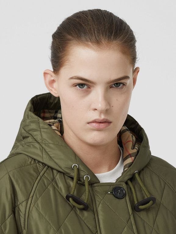 Diamond Quilted Hooded Coat in Cadet Green - Women | Burberry - cell image 1