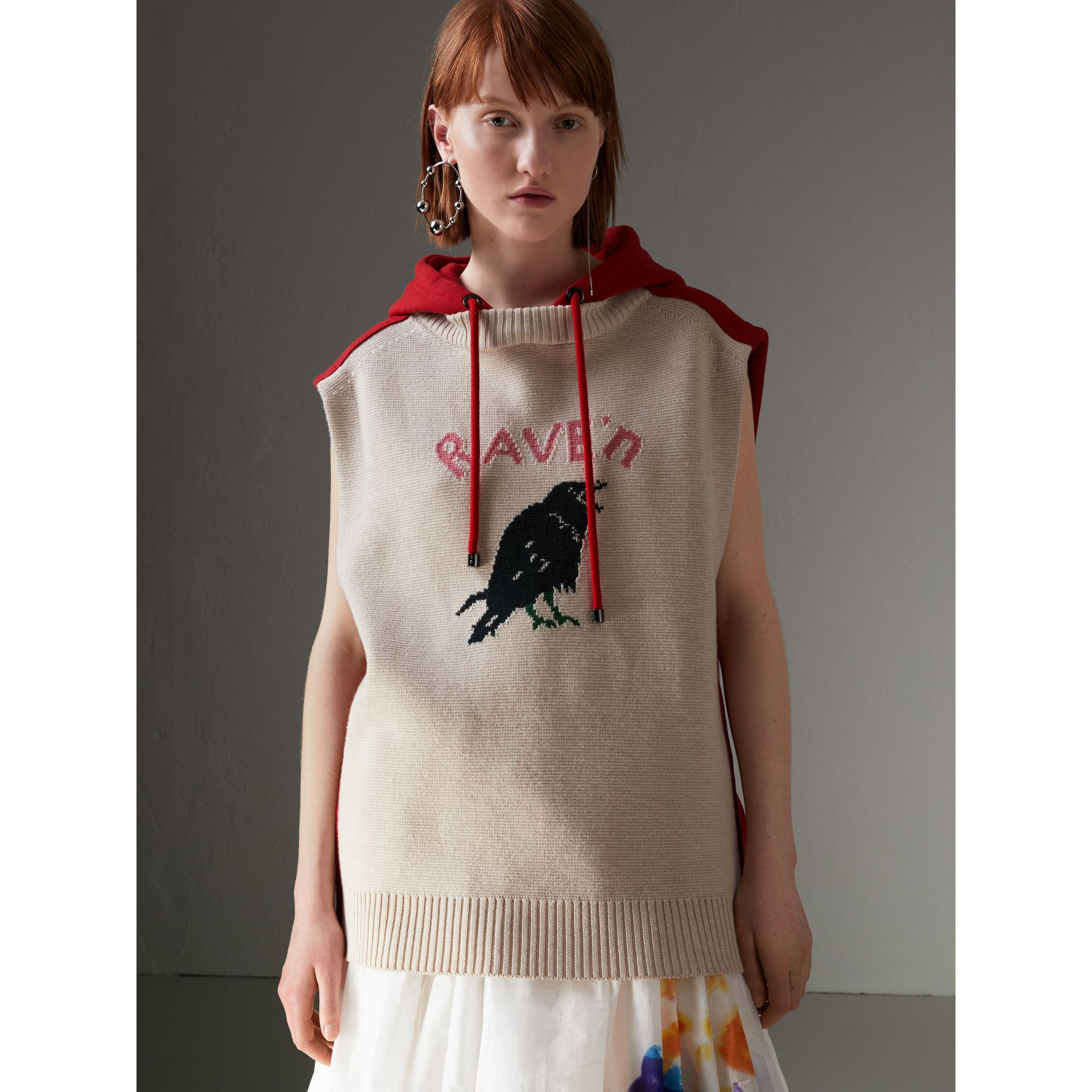 Raven Intarsia Sleeveless Hoodie in Red - Women | Burberry Canada - gallery image 4