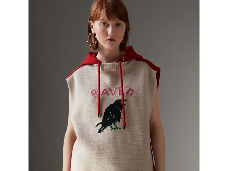 Raven Intarsia Sleeveless Hoodie in Red - Women | Burberry - cell image 4