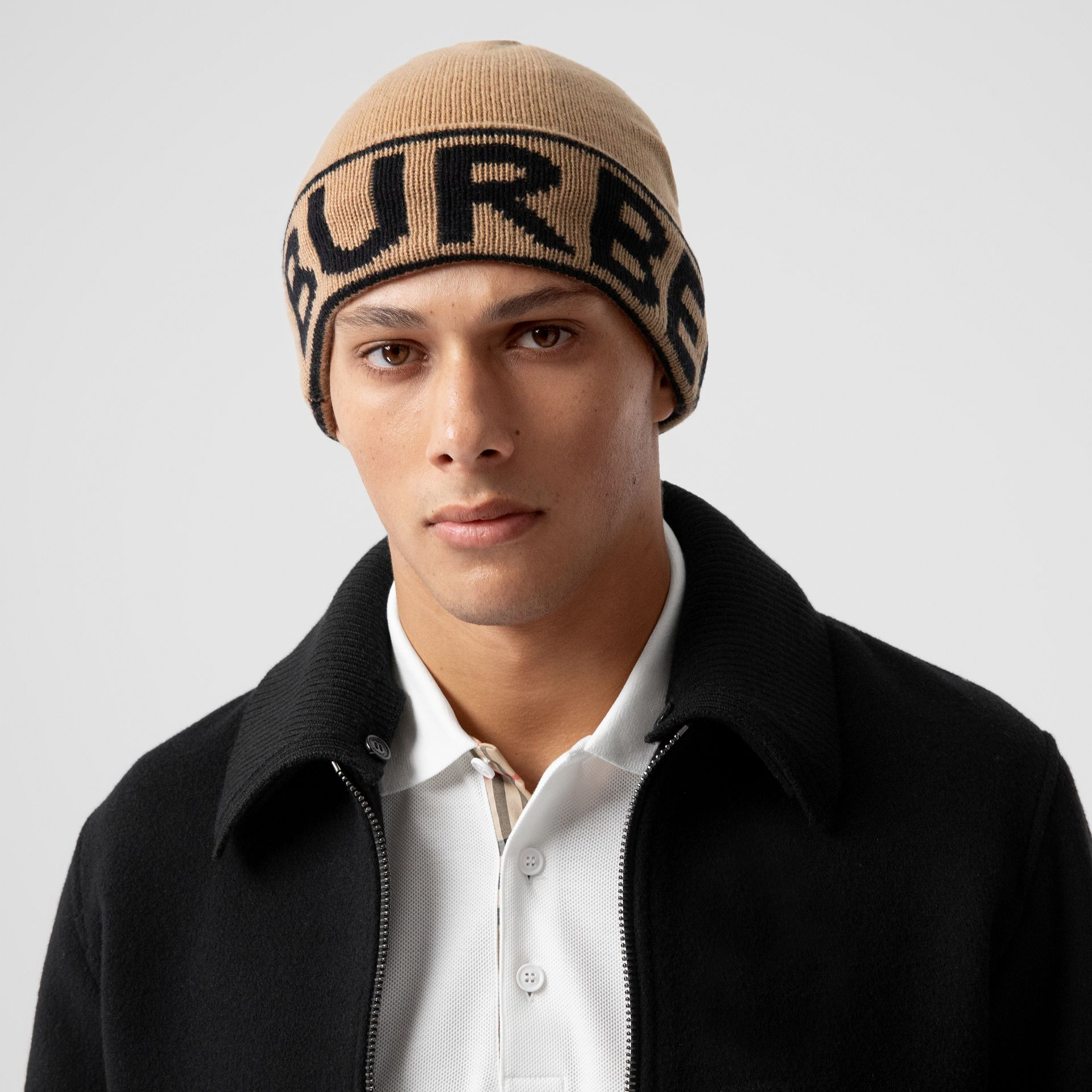 Logo Intarsia Cashmere Beanie in Archive Beige | Burberry - gallery image 3