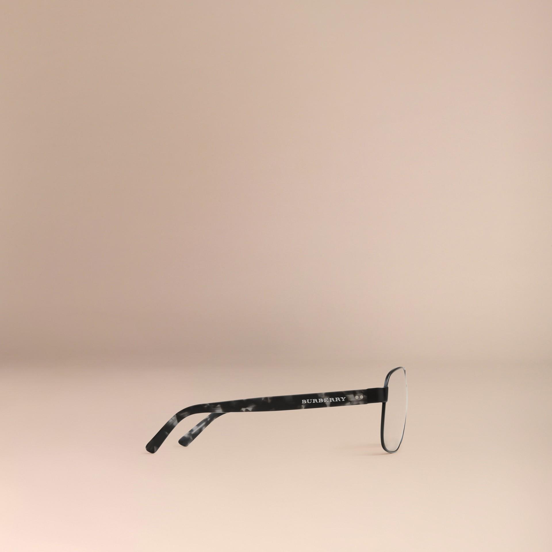 Matt black Square Frame Aviator Polarised Sunglasses Matt Black - gallery image 5