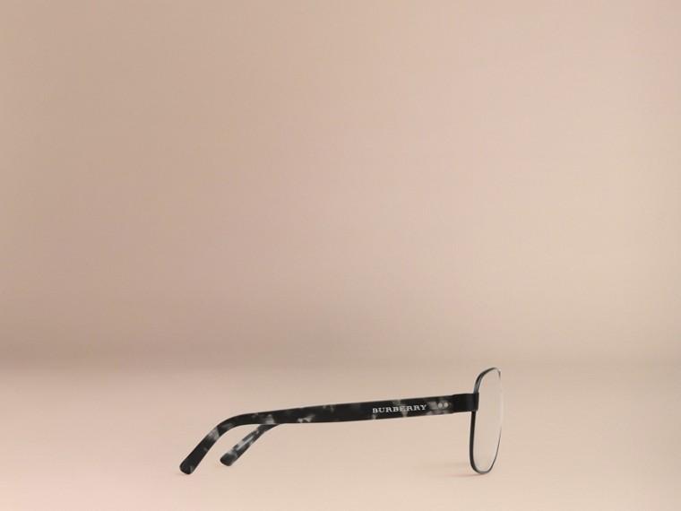 Matt black Square Frame Aviator Polarised Sunglasses Matt Black - cell image 4
