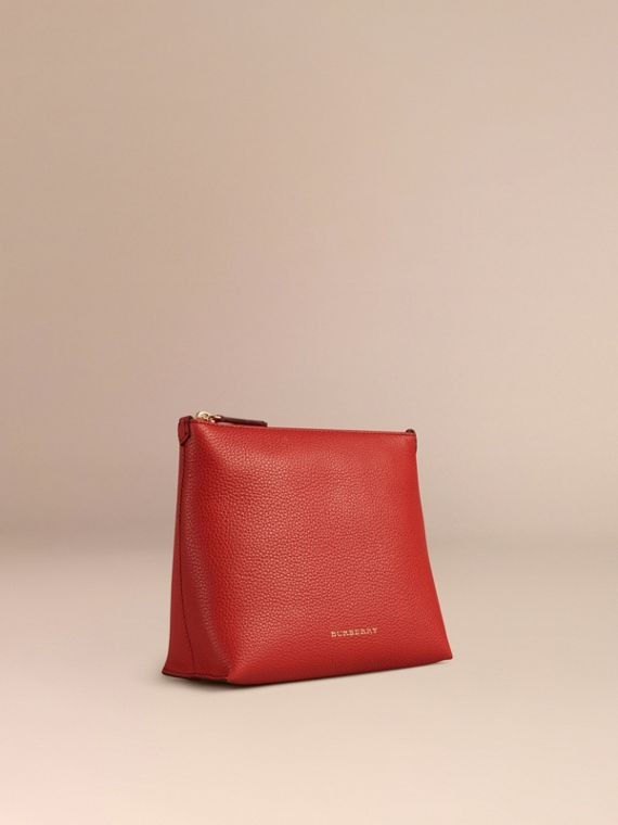 Orange red Grainy Leather Zipped Pouch Orange Red - cell image 2