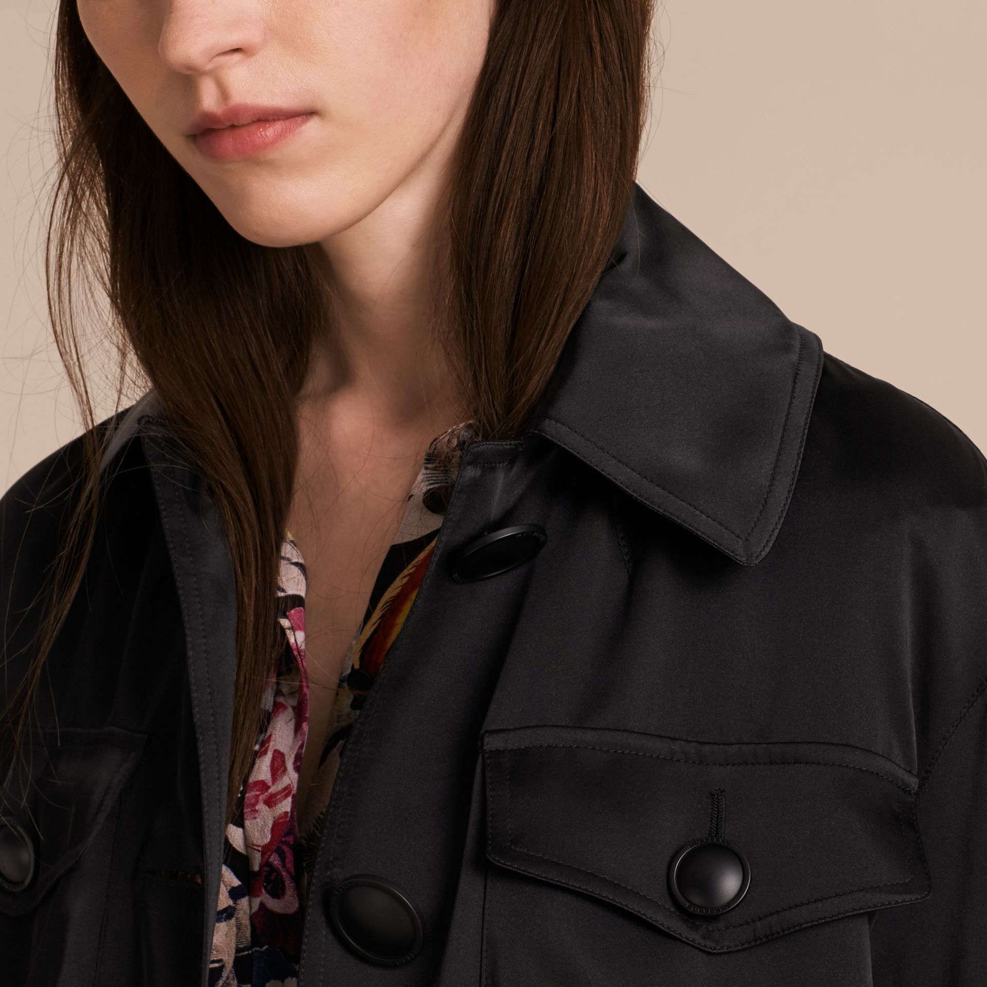 Black Check Undercollar Silk Field Jacket - gallery image 6