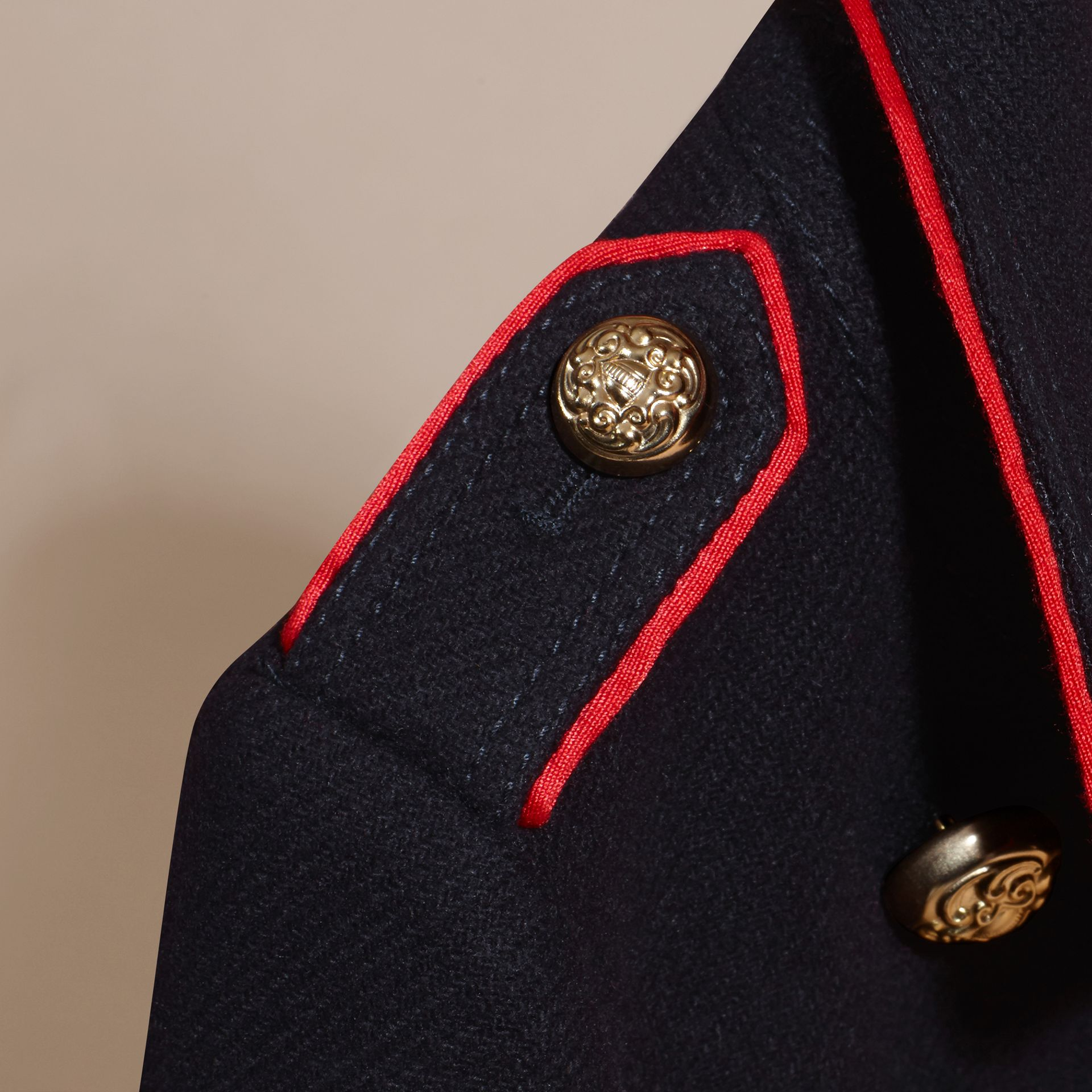 Navy Regimental Detail Wool Cashmere Blend Coat - gallery image 2