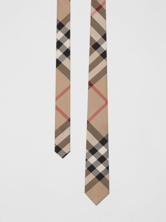Classic Cut Check Silk Tie in Archive Beige