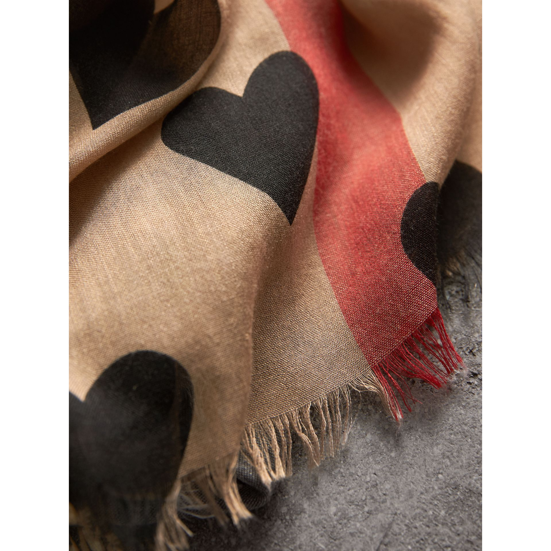 Heart and Check Modal and Cashmere Scarf in Camel/black - Women | Burberry United States - gallery image 2