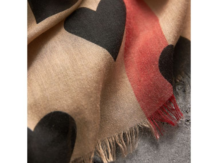 Heart and Check Modal and Cashmere Scarf in Camel/black - Women | Burberry United Kingdom - cell image 1