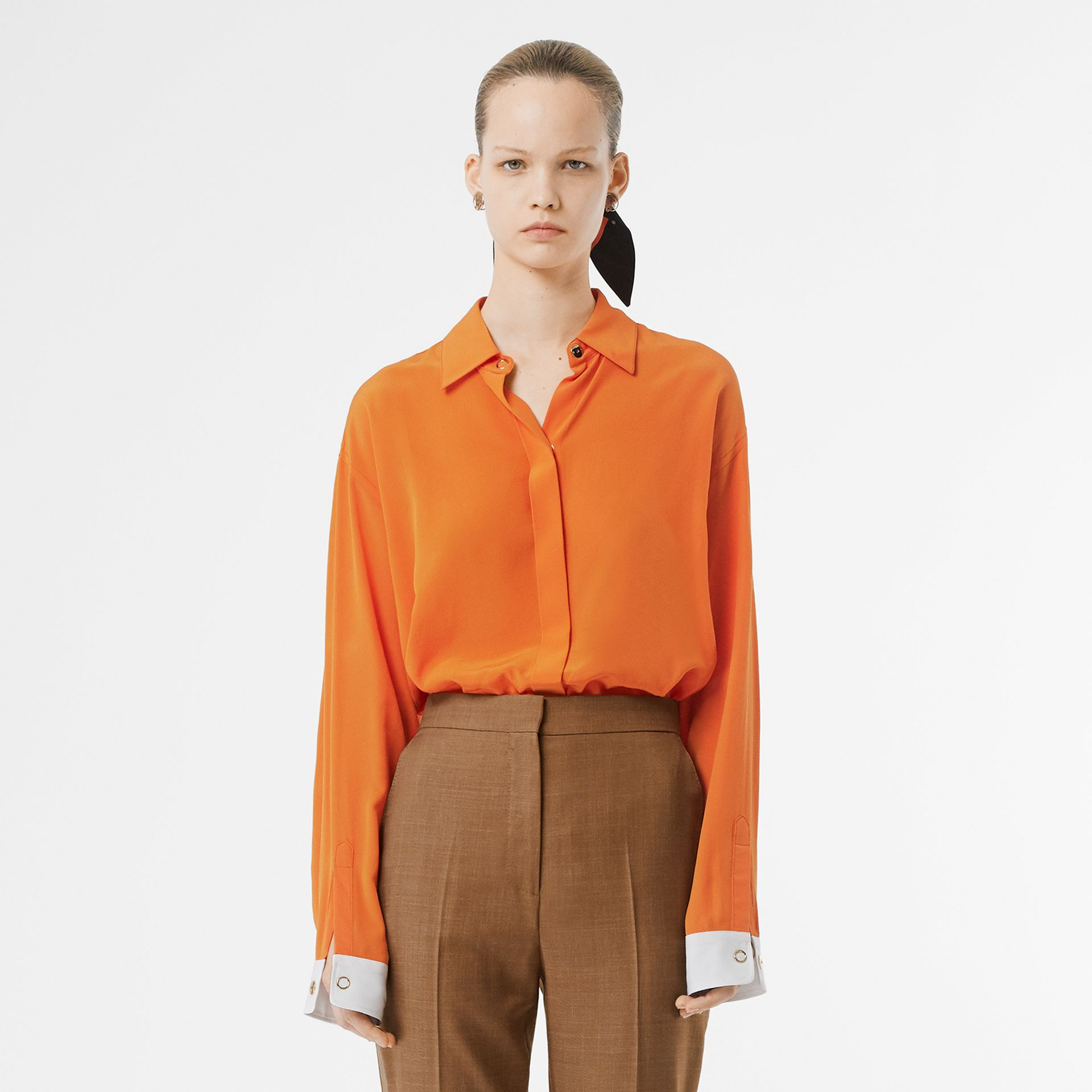 Contrast Cuff Silk Oversized Shirt in Orange - Women | Burberry - gallery image 0