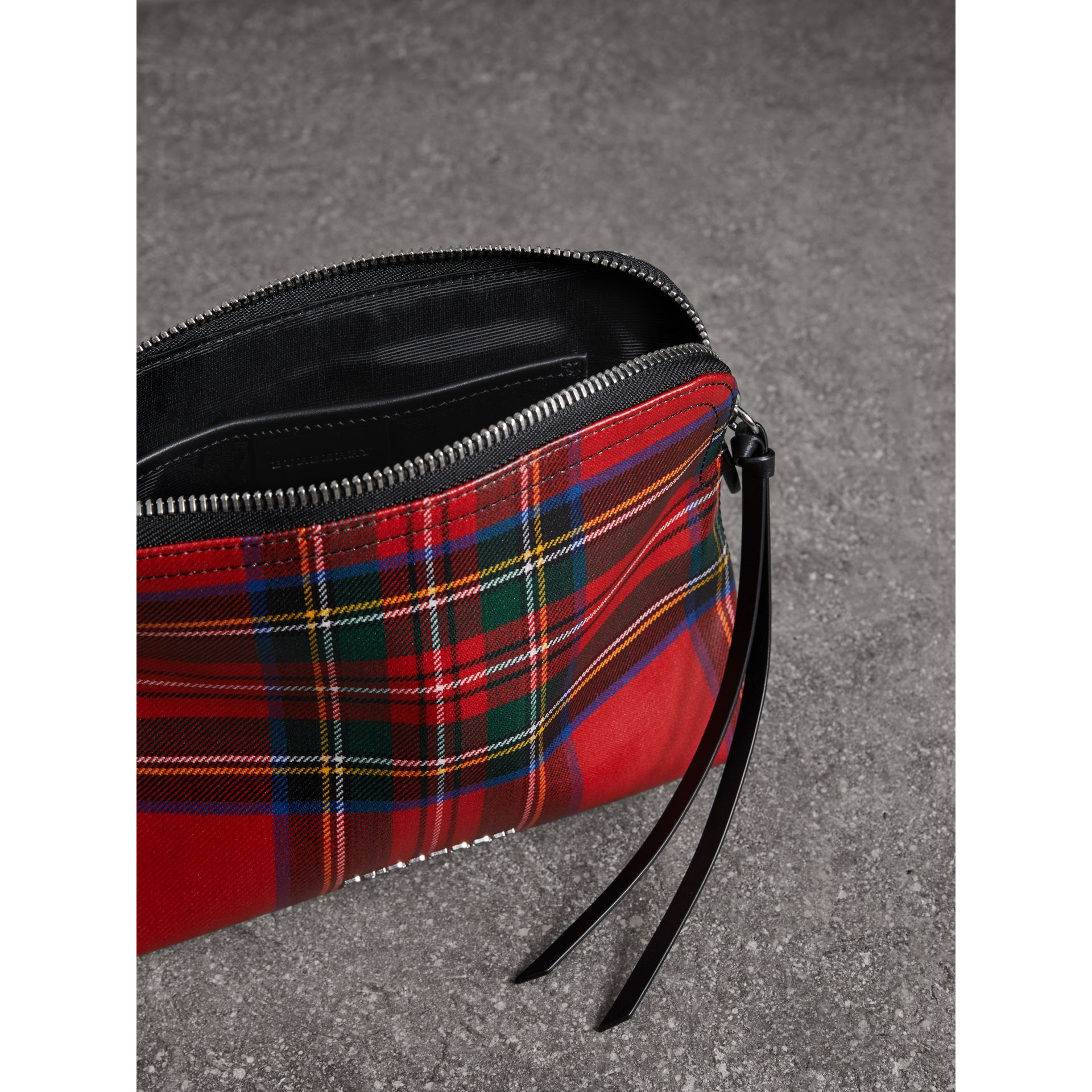 Large Laminated Tartan and Check Wool Blend Pouch in Military Red - Women | Burberry - gallery image 2