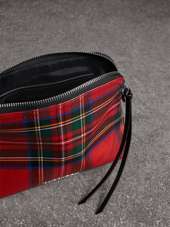 Large Laminated Tartan and Check Wool Blend Pouch in Military Red - Women | Burberry - cell image 2