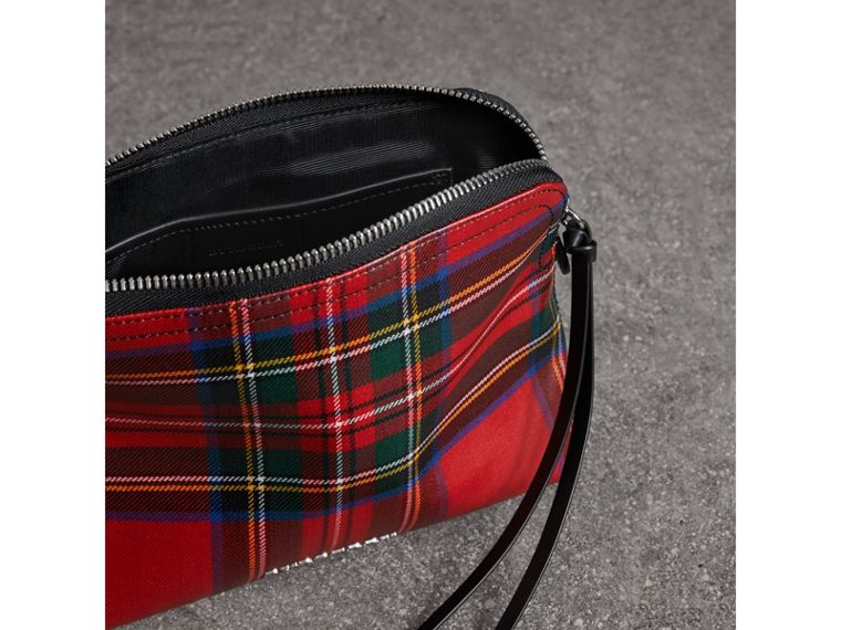 Large Laminated Tartan and Check Wool Blend Pouch in Military Red - Women | Burberry - cell image 4