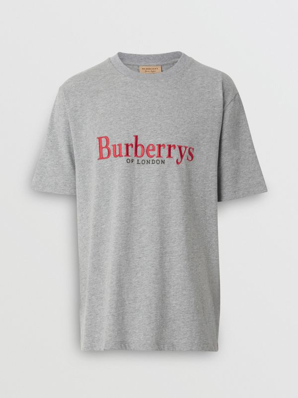 Embroidered Archive Logo Cotton T-shirt in Pale Grey Melange - Men | Burberry - cell image 3