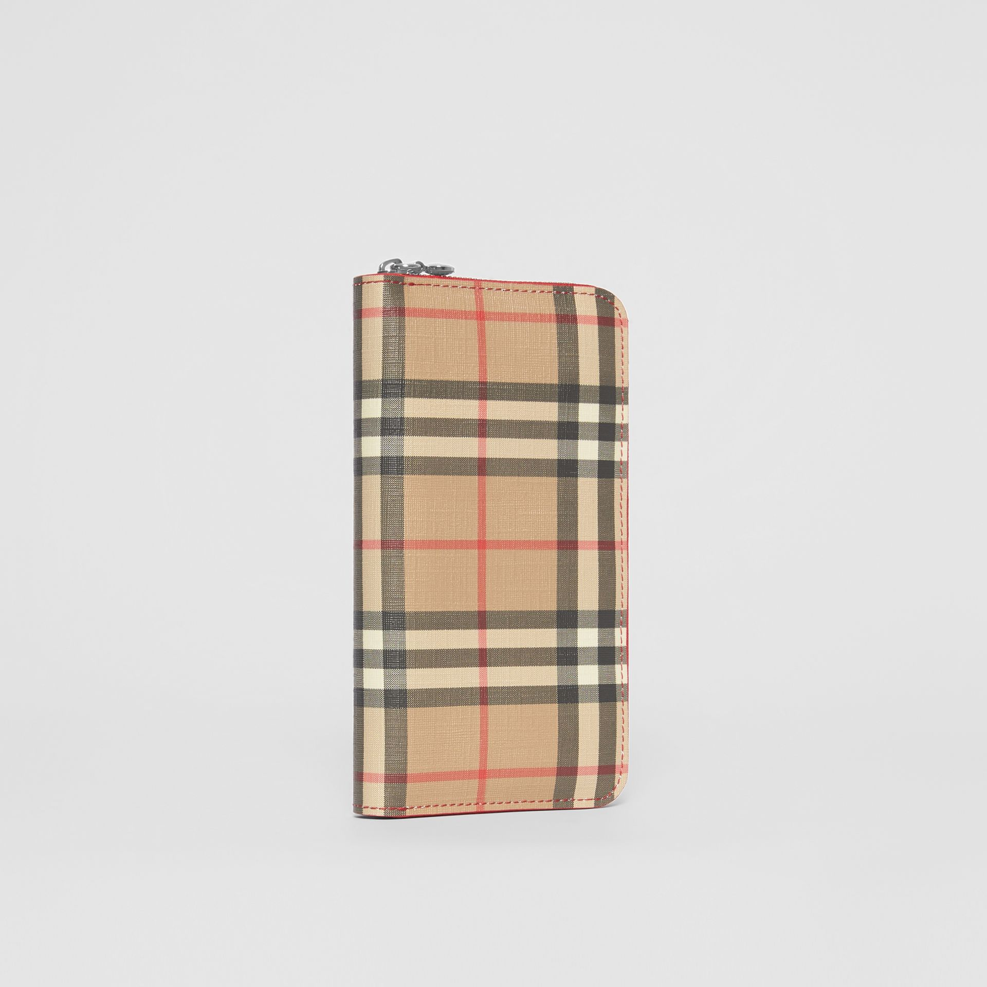 Vintage Check E-canvas and Leather Wallet in Bright Military Red - Women | Burberry Hong Kong S.A.R - gallery image 3
