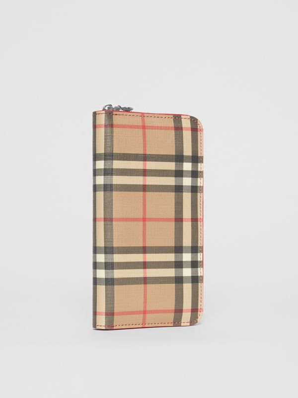 Vintage Check E-canvas and Leather Wallet in Bright Military Red - Women | Burberry Hong Kong S.A.R - cell image 3