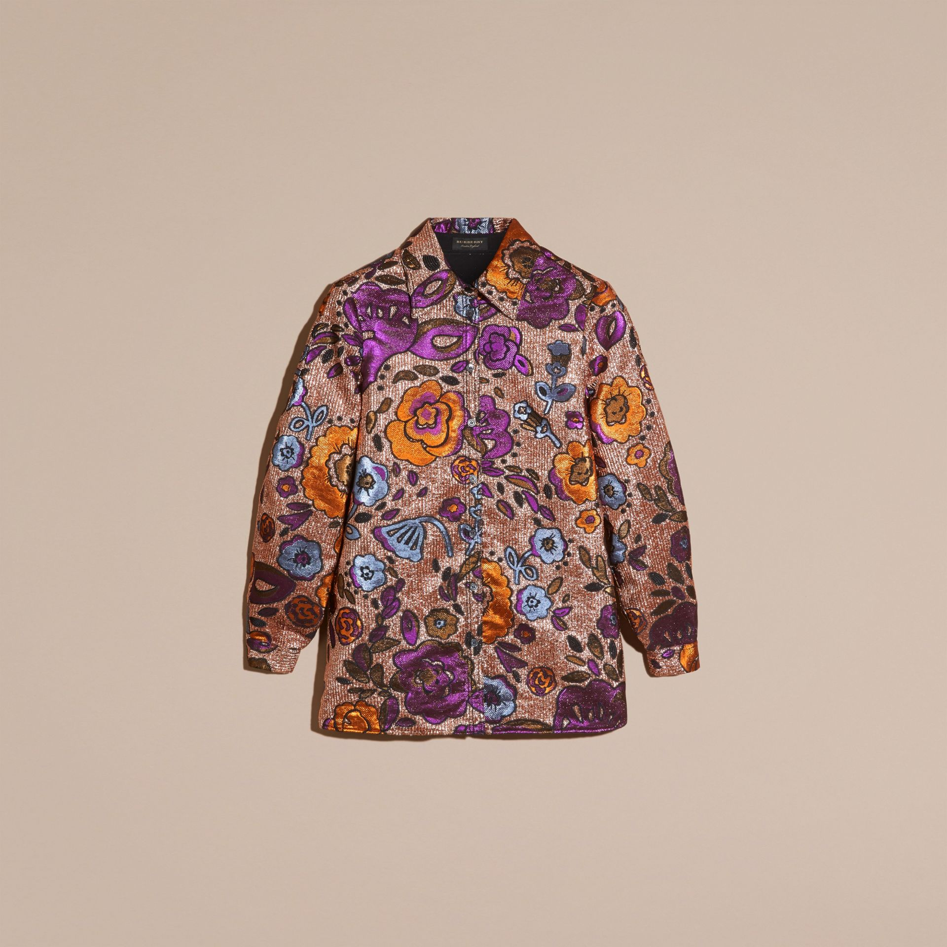 Copper rose Lamé and Floral Jacquard Sculptured Sleeve Shirt - gallery image 4