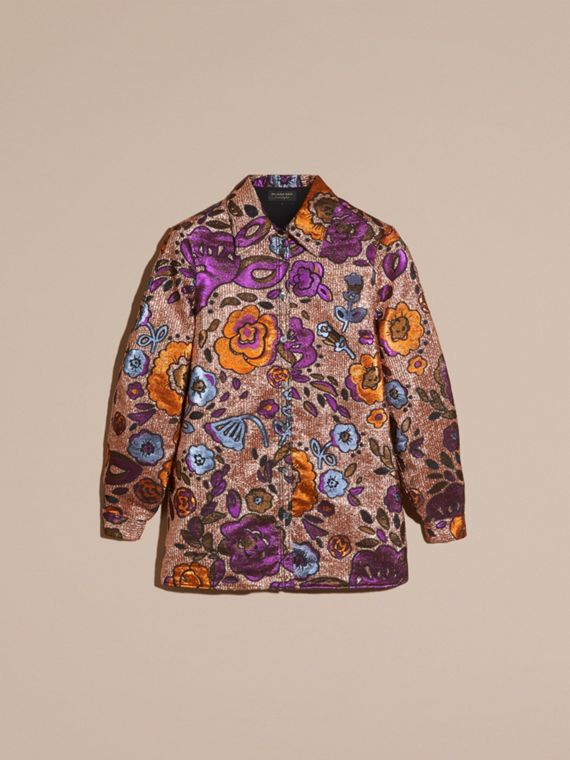 Copper rose Lamé and Floral Jacquard Sculptured Sleeve Shirt - cell image 3