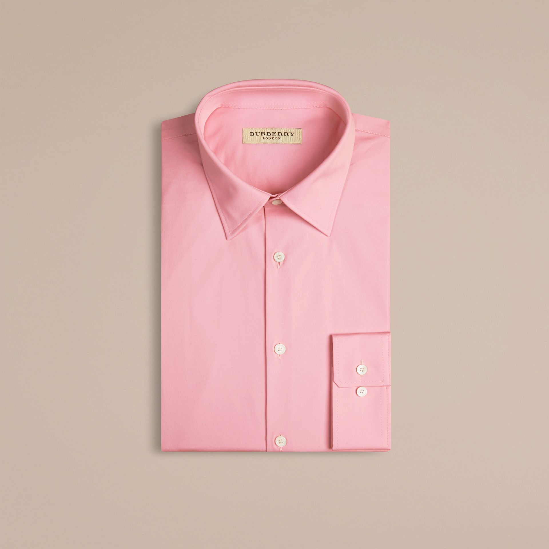 Modern Fit Stretch Cotton Shirt in City Pink - gallery image 4