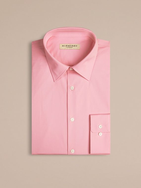 Modern Fit Stretch Cotton Shirt in City Pink - cell image 3