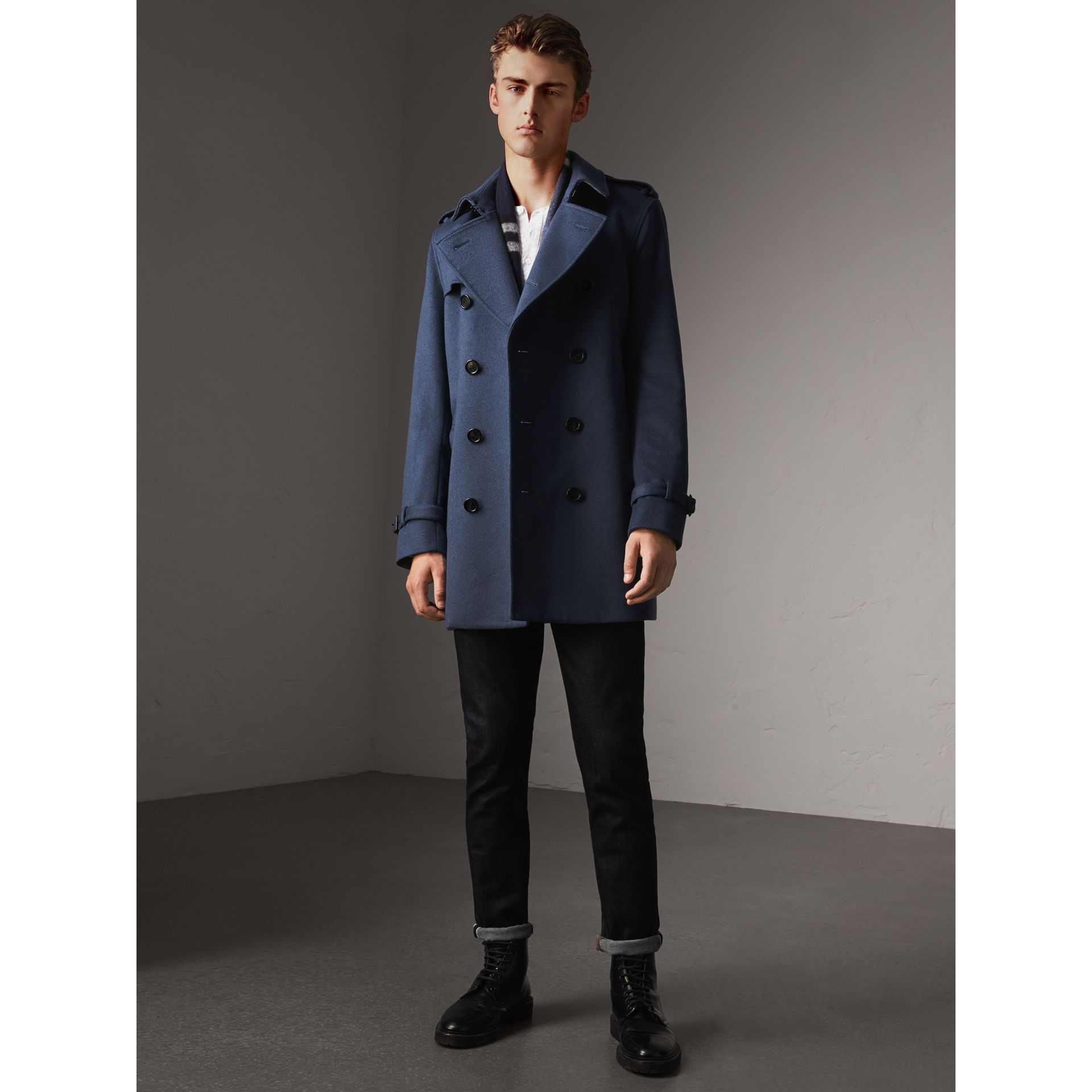 Wool Cashmere Trench Coat in Dark Canvas Blue - Men | Burberry - gallery image 6