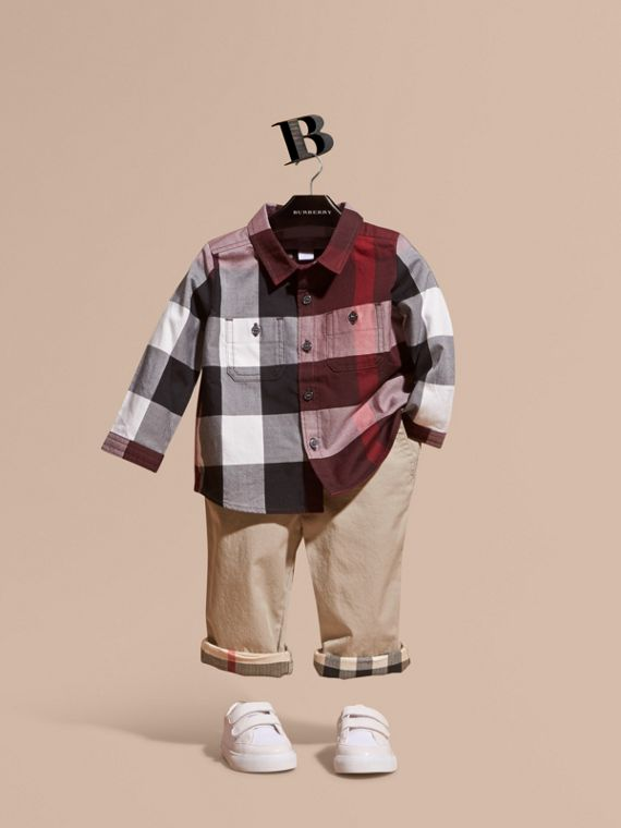Check Cotton Shirt Claret