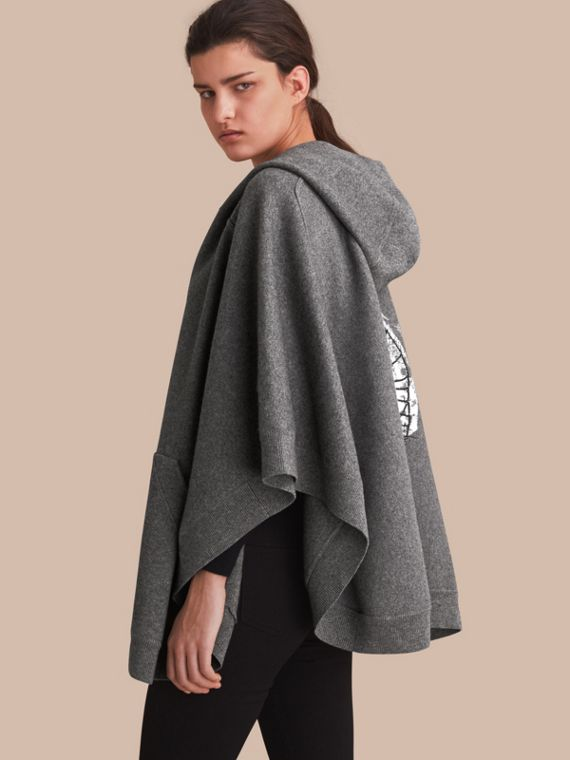 Pallas Helmet Motif Wool Cashmere Hooded Poncho in Mid Grey - Women | Burberry - cell image 2