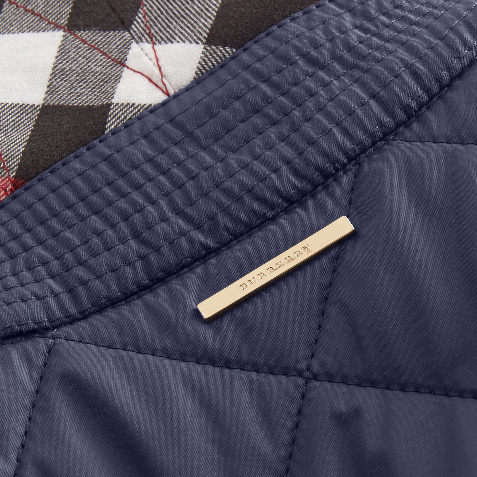 Check Detail Diamond Quilted Jacket in Navy - gallery image 2
