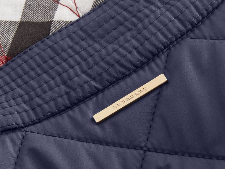 Check Detail Diamond Quilted Jacket in Navy - cell image 1